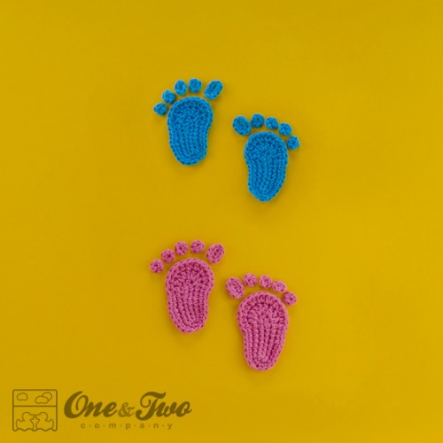 Baby Footprints And Flip Flops Applique Crochet