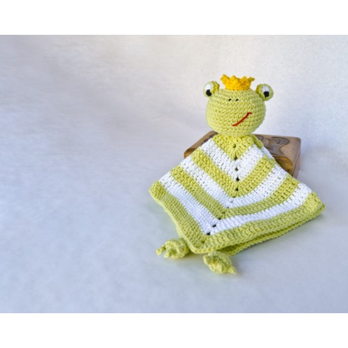 Frog Prince Security Blanket Crochet Pattern