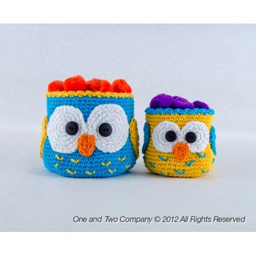 Free Crochet Pattern Owl Basket : Owl Baskets - 2 sizes - Crochet Pattern
