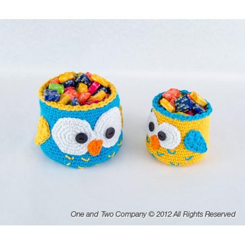Owl Baskets 2 Sizes Crochet Pattern