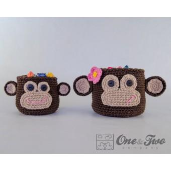 Monkey Baskets - 2 sizes - Crochet Pattern