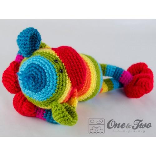 Amigurumi Crochet Sock Monkey : Rainbow Sock Monkey Amigurumi Crochet Pattern