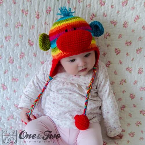 Rainbow Sock Monkey Hat Crochet Pattern