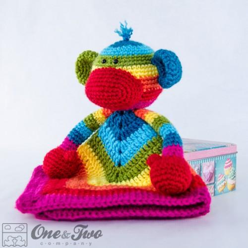 Rainbow Sock Monkey Security Blanket Crochet Pattern