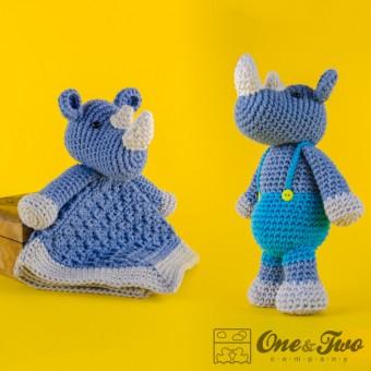 Max the Rhino Lovey and Amigurumi Crochet Patterns Pack