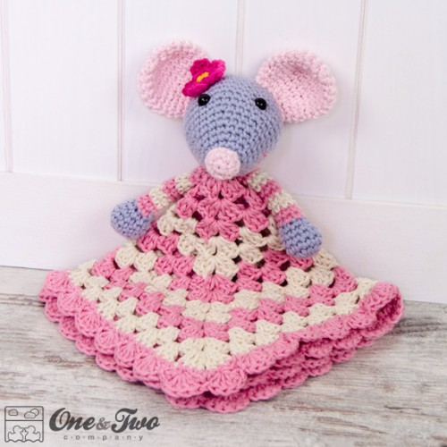 Free Crochet Pattern For Animal Security Blanket : Emily the Mouse Security Blanket Crochet Pattern
