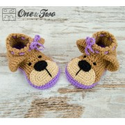 Teddy Bear Booties - Child Sizes - Crochet Pattern