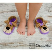 Teddy Bear Booties - Child Sizes - Crochet Pattern