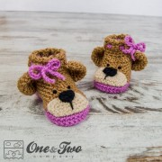 Teddy Bear Booties - Baby Sizes - Crochet Pattern
