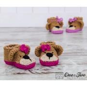 Teddy Bear Booties - Baby Sizes - Crochet Pattern