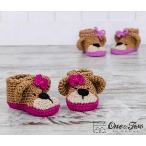 Crochet Baby Bear Booties Pattern : Teddy Bear Booties - Baby Sizes - Crochet Pattern