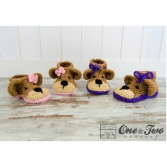 Teddy Bear Booties - Toddler Sizes - Crochet Pattern