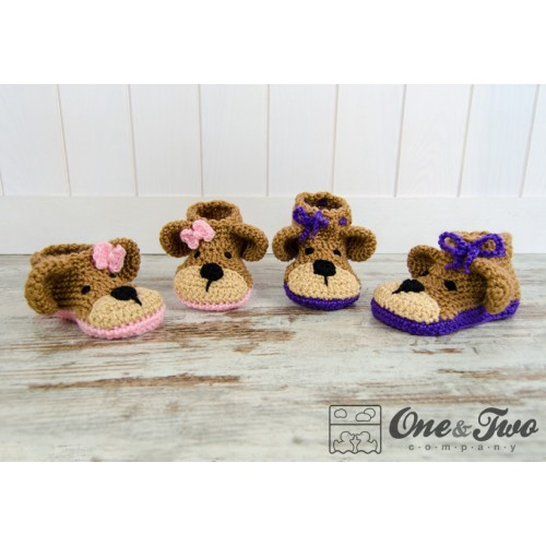 Crochet Baby Bear Booties Pattern : Teddy Bear Booties Pack - Baby, Toddler and Child sizes ...