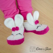 Olivia the Bunny Booties - Child Sizes - Crochet Pattern