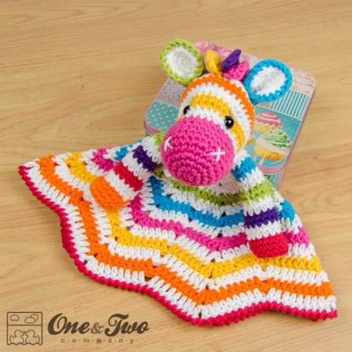 Free Crochet Pattern For Animal Security Blanket : Rainbow Zebra Security Blanket Crochet Pattern