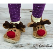 Reindeer Booties - Child Sizes - Crochet Pattern