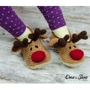 Reindeer Booties - Child Sizes - Crochet Pattern