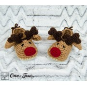 Reindeer Booties - Toddler Sizes - Crochet Pattern