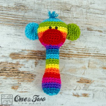 Rainbow Sock Monkey Handle Rattle Crochet Pattern