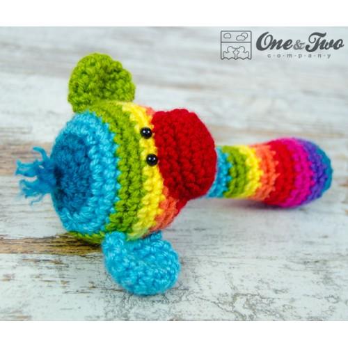 Rainbow Sock Monkey Handle Rattle Crochet Pattern