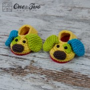 Scrappy the Happy Puppy Slippers - Baby Sizes - Crochet Pattern