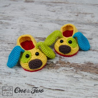 Scrappy the Happy Puppy Slippers - Child Sizes - Crochet Pattern