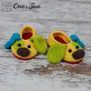 Scrappy the Happy Puppy Slippers Pack - Baby, Toddler and Child sizes crochet patterns
