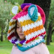 Rainbow Zebra Hood Crochet Pattern