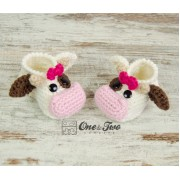 Doris the Cow Booties - Baby Sizes - Crochet Pattern