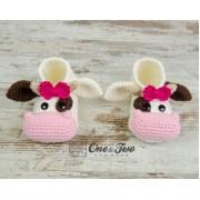 Doris the Cow Booties - Child Sizes - Crochet Pattern
