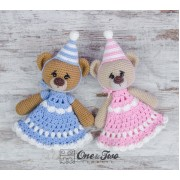 Mia and Owen the Birthday Bears Security Blanket Crochet Pattern