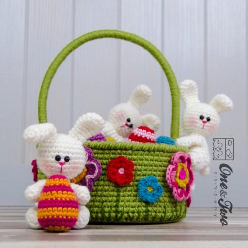 Little bunnies easter basket crochet pattern negle Images