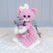 Kissie the Kitty and Skip the Little Mouse Security Blanket Crochet Pattern
