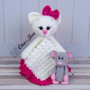 Kissie the Kitty and Skip the Little Mouse Security Blanket Crochet Pattern - Dutch Version