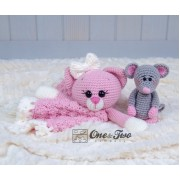 Kissie the Kitty and Skip the Little Mouse Security Blanket Crochet Pattern - English, Dutch, German