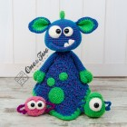 Mel the Monster and Friends Security Blanket Crochet Pattern