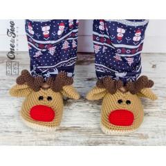 Reindeer Booties - Adult Sizes - Crochet Pattern