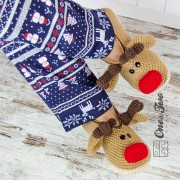 Reindeer Booties - Adult Sizes - Crochet Pattern