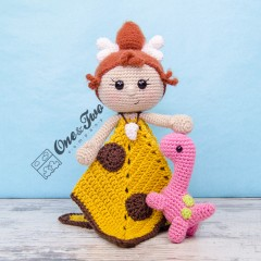 Cyra the Cavegirl and Dixie the Dino  Security Blanket Crochet Pattern