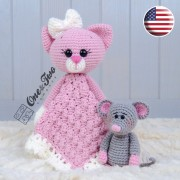 Kissie the Kitty and Skip the Little Mouse Security Blanket Crochet Pattern - English Version