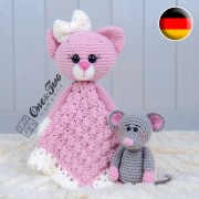 Kissie the Kitty and Skip the Little Mouse Security Blanket Crochet Pattern - German Version