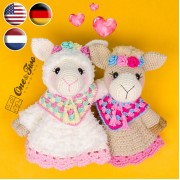 Astrid the Alpaca Security Blanket Crochet Pattern - English, Dutch, German