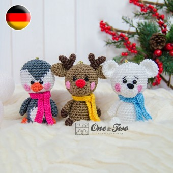 Christmas Ornaments: Reindeer, Penguin and Polar Bear Crochet Pattern - German Version