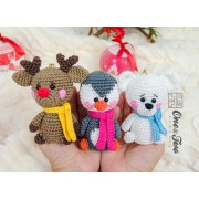Christmas Ornaments: Reindeer, Penguin and Polar Bear Crochet Pattern - Dutch Version