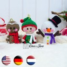 Christmas Ornaments: Snowman, Gingerbread and Santa's Helper Crochet Pattern - English, Dutch, German