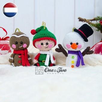 Christmas Ornaments: Snowman, Gingerbread and Santa's Helper Crochet Pattern - Dutch Version