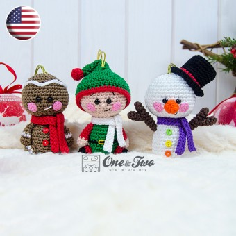 Christmas Ornaments: Snowman, Gingerbread and Santa's Helper Crochet Pattern - English Version
