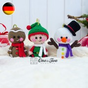 Christmas Ornaments: Snowman, Gingerbread and Santa's Helper Crochet Pattern - German Version