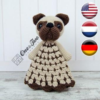 Hiro the Pug Security Blanket Crochet Pattern - English, Dutch, German