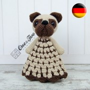 Hiro the Pug Security Blanket Crochet Pattern - German Version
